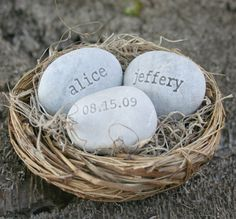 Love Nest. Names and wedding date in bird nest. By SJ Engraving on etsy. $38.00