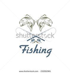 vintage fishing vector design template