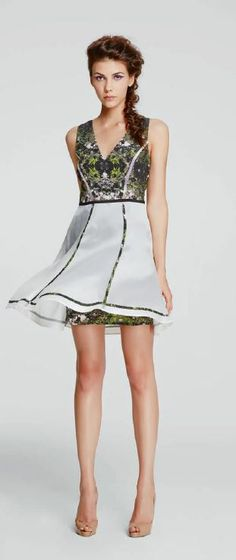 LUBLU Kira Plastinina SS14 cocktail dress, silk, enchanted forest print with sheer overlay. lublukp.com