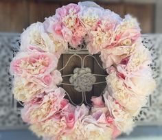 Hi everyone long time no see after many requestsi decided shabby chic christmas coffee filter paper flowers rose floral wreath pinks ivory mightylinksfo