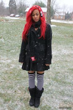 Winter Afro-Goth girl. Lovely from Dead Kitty