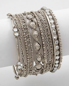 (8 Piece Stackable Bracelet Antique Silver Tone)