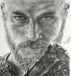 This is a drawing of Travis Fimmel as Ragnar Lothbrok from the TV show Vikings. Descendant of Odin Ragnar Lothbrok Vikings, Ragnar Lothbrook, King Ragnar, Vikings Tv, Norse Vikings, Lagertha, Travis Fimmel, Art Drawings Sketches, Norse Mythology