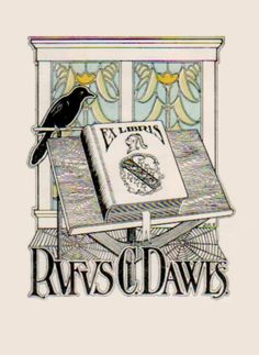 Ex Libris Rufus C. Dawes by J.C. (artist).  ... ... Bookplate, Stained Glass Window, Book Stand, Bird, Jackdaw, Book, Spiderwebs. Jackdaws aka Daws appears to be a visual pun on the book owner's last name :-)  From the collection of Lew Jaffe     (Philadelphia, Pa, USA). Image photoedited.