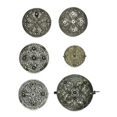 Six disc brooches from the Pentney hoard  Anglo-Saxon, early 9th century AD From Pentney, Norfolk, England