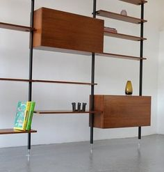rare free standing wall unit designed by ulrich p wieser for bofinger wohnbedarf ag switzerland in 1958