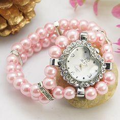 Fashion Watch Bracelet with Alloy Watch Head, Glass Beads and Brass Rhinestone Beads, Pink