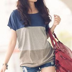 Buy PUFII Color Block T-Shirt at YesStyle.com! Quality products at remarkable prices. FREE WORLDWIDE SHIPPING on orders over US$35.