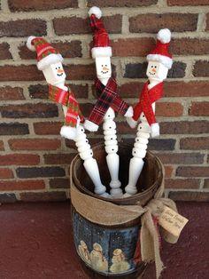 Stairway Spindle Snowman. By Repurposed Creations