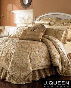 14 pc j queen new york contessa king bedding set new pillows sheets euros gold - J Queen New York Bedding