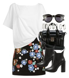 """Outfit with a leather skirt and heeled boots"" by ferned ❤ liked on Polyvore featuring Topshop, Red Herring, 3.1 Phillip Lim, Windsor Smith and Crap"