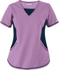 Butter-Soft Scrubs by UA V-Neck Scrub Top with Stretch Knit Panels, Style # ST868C #straightfigures, #purpleparfaitwithpewter, #nurses, #uniformadvantage