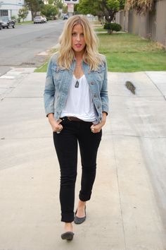 Denim jacket, black skinnies, white tee, black flats.