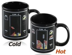 Tetris #HeatSensitive #Mug. The game #tetris graphic appears senstive color when filled with hot water. #Idealgift for #boys and #girls, no limited age, very handy use.