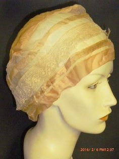 Antique Boudoir Silk Night Cap Bed Hair Covering 1900s Peach Silk Ivory Lace #Unbranded