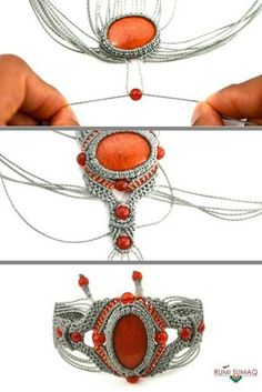 This step by step tutorial will teach you to create a micro-macrame bracelet that is the design of fiber art jewelry designer Coco Paniora Salinas of Rumi Sumaq. Bring your macrame jewelry making to the next level with this macrame bracelet tutorial. Macrame Colar, Macrame Art, Macrame Necklace, Macrame Bracelets, Bracelets Diy, Macrame Projects, Friendship Bracelets, Macrame Jewelry Tutorial, Macrame Bracelet Patterns