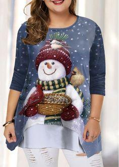 Plus Size Tops For Women Long Sleeve Plus Size Christmas Snowman Print T Shirt Plus Size Christmas Tops, Plus Size Halloween, Couple Halloween Costumes For Adults, Costumes For Women, Teen Costumes, Woman Costumes, Couple Costumes, Pirate Costumes, Group Costumes