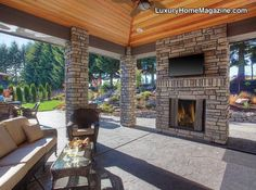 Custom Back Patio with outdoor fireplace