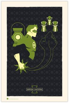 Fantastic three colour hero posters - Green Lantern, I am now kind of jealous...