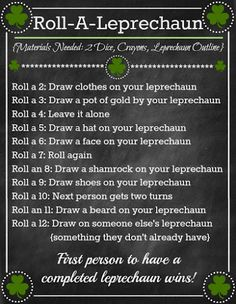 St. Patrick's Day 'Roll A Leprechaun' Game ~ so fun for kids! www.orsoshesays.com #kids #activities