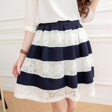 Tokyo Fashion - Lace Panel Striped A-Line Skirt