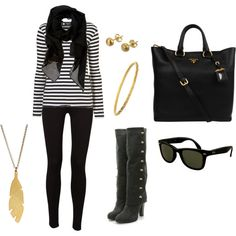 Black and Gold, created by karakw on Polyvore - You had me at Prada!