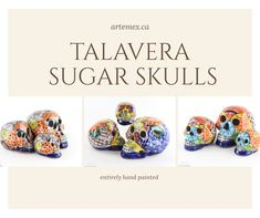 This stunning hand painted set of Mexican sugar skulls are sure to make a statement in your home! Mexican Sugar Skulls, Mexican Home Decor, Paint Set, Home Decor Items, Home And Garden, Hand Painted, How To Make