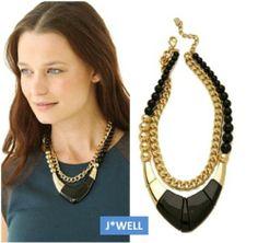 2014 New Fashion Designer Luxury Beads Square 2 Chain Punk Women Choker Necklace