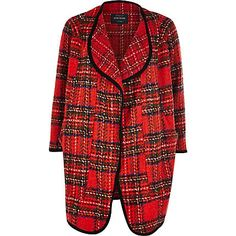 I'm shopping Red tartan waterfall coat in the River Island iPhone app. Boho Fashion Indie, Waterfall Coat, Coats For Women, Clothes For Women, Tartan Plaid, Types Of Fashion Styles, River Island, Latest Trends, My Style