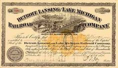 Detroit, Lansing & Lake Michigan Railroad 5 shares á 100 $ 12.12.1874.