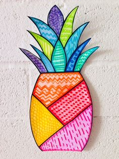 Summer art: pineapple: elements of art: lines art class idea Summer Art Projects, Art Projects For Teens, Summer Crafts, Line Art Projects, Kids Crafts, Art Club Projects, Summer Diy, Easy Crafts, Diy Projects