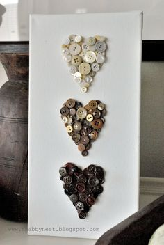 The Shabby Nest: Valentine DIY - Ombre Button Hearts~