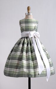 #ElizabethStJohn- Lilla; plaid green white flower girl dress; can be obtained through #SoliloquyBridalCouture