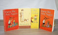4 VINTAGE Childrens School BOOKS. Learn to Read. 1950s. Cool Retro Graphics. via Etsy