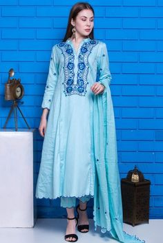 Light Blue Cotton Anarkali Suit With Resham Work. Cotton Anarkali, Anarkali Suits, Costumes Anarkali, Angrakha Style, Indian Classical Dance, Indian Salwar Kameez, Light Blue Color, Blue Tops, Party Wear