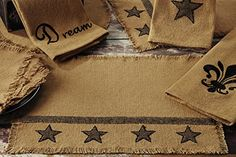 Burlap Star Design Placemat Set of 4 - 100% Cotton Fabric 13 x 19 Inches - $29.99 & FREE Shipping