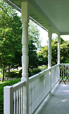 Porch with Superior Systems newel and porch posts Vinyl Railing, Porch Posts, Columns, Outdoor Spaces, Deck, Stairs, Home Decor, Outdoor Living Spaces, Stairway