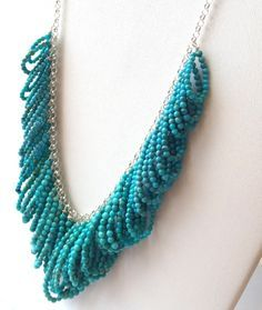 I like the loops in this necklace. Another way to do fringe?Turquoise Sterling Silver Necklace