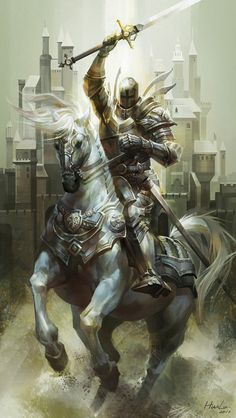 Classic plate-armoured paladin on horseback, charging with sword aloft