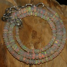 """43 Crts 1 Strands 2 to 6 mm 15"""" Beads necklace Ethiopian Welo Fire Opal  A+1641"""