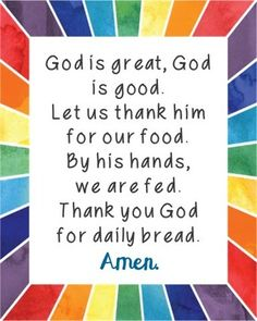 God is Great, God is Good Poster. Comes in JPEG for large posters and a PDF to print from your desktop. Prayer, Blessing, Mealtime, for Kids, for Children.