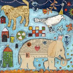 Jill Mayberg is another new artist at Corvallis Fall Festival come September. Collage Illustration, Illustrations, Collage Art, Elephant Artwork, Arte Popular, Paintings I Love, Naive Art, Outsider Art, Paper Art