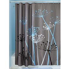 InterDesign Thistle Shower Curtain, 72 x 72, Gray/Blue