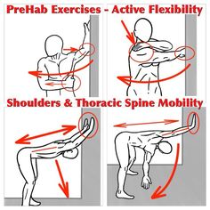 thoracic spine stability exercises - Fitness and Exercises Fitness Workouts, Thoracic Spine Mobility, Fascia Stretching, Static Stretching, Shoulder Rehab, Shoulder Stretches, Shoulder Stability Exercises, Shoulder Flexibility, Tight Shoulders