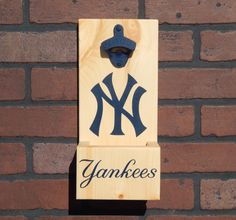 New York NY Yankees Stlye MLB Baseball Wall Mounted Bottle Opener With Cap Catcher and Easy Removal System - All Teams Available! by GrizzlyBearCreations on Etsy