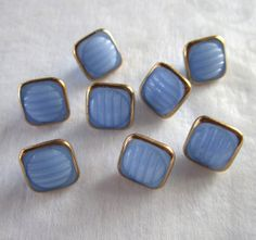8 Czech Blue Glass Buttons  7/16 Square   by JanesVintageToo, $9.00