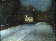 James McNeill Whistler (American, Tonalism, 1834 –1903): Nocturne in Grey and Gold: Chelsea Snow, 1876. Oil on canvas, 46.4 x 62.9 cm. Fogg Art Museum, Harvard University Art Museums, USA.