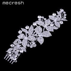 Mecresh New Floral Crystal Bridal Hair Combs Tiara Rhinestone Silver Color Hairpins Hairstyle Wedding Hair Jewelry Gift FS044