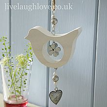 A sweet hanging decoration with lots of country style. Wooden bird and hearts with ribbon bow, wooden beads and little silver bell at the end. Height when hanging Shabby Chic Hanging Hearts, Wood Projects, Craft Projects, Shabby Chic Accessories, Crafts To Make, Diy Crafts, Butterfly Decorations, Flower Decoration, Wooden Bird