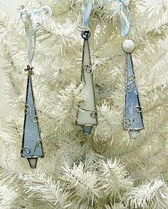 Elegant Frosty Blue and White Stained Glass Christmas by miloglass, $23.00